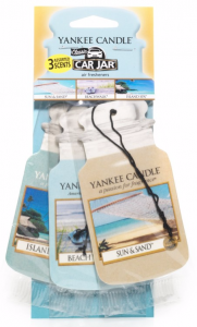 YANKEE CANDLE Car Jar® Variety Pack BEACH VACATION (Sun & Sand + Island SPA + Beach Walk) - zestaw 3 szt